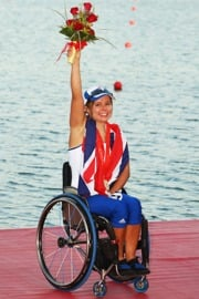 Helene Raynsford, Paralympic rower with her winning medals at the Beijing 2008 Paralympic Games