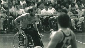 Sir Philip Craven playing wheelchair basketball in 1984