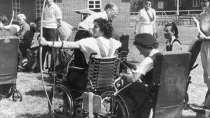 Patients practising archery at Stoke Mandeville