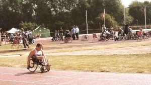 Paul Cartwright wheelchair racing in 1982