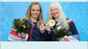 Kelly Gallagher and her Guide Charlotte Evans with the Gold medals, in the Alpine Skiing Super G event, Sochi 2014