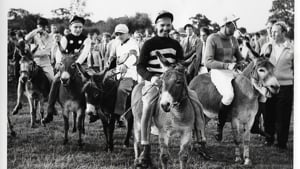 Top jockeys on donkeys at the 1960 Finmere Show Donkey Derby