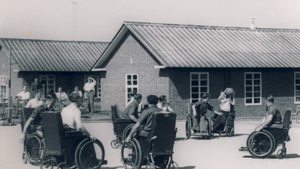 Stoke Mandeville hospital patients playing wheelchair basketball in the 1950s