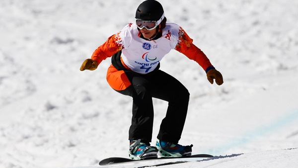 Paralympic snowboarder, Bibian Mentel-Spee from the Netherlands competing at the Sochi 2014 Winter Paralympics