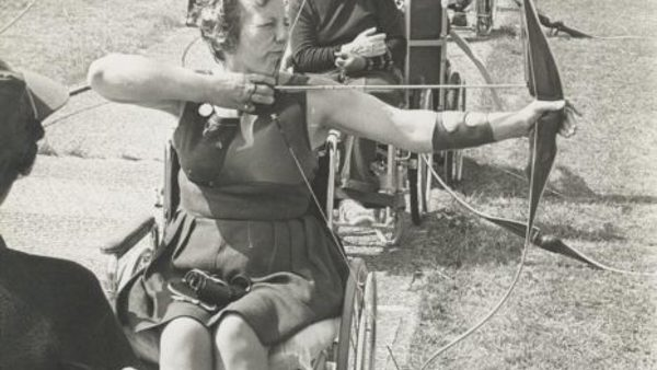 Margaret Maughan on an archery range in 1962