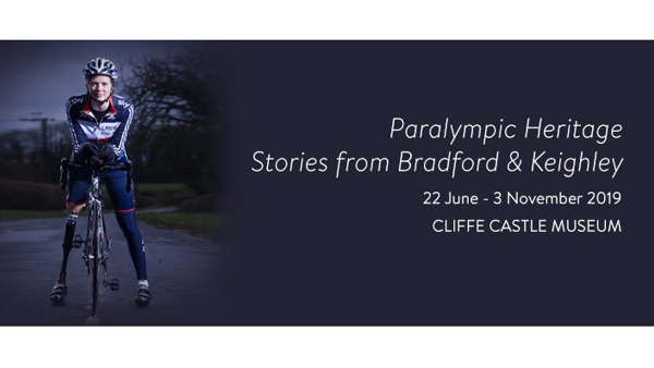 Image of Sally Hurst para-cyclist advertising Paralympic Heritage exhibition at Cliffe Castle Museum