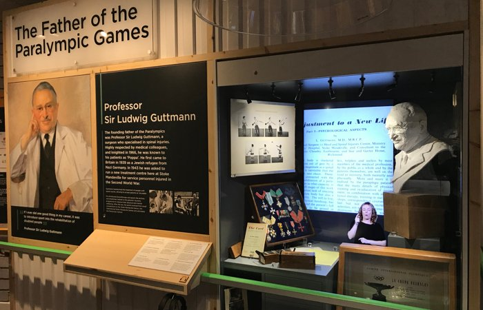 A display of Dr Guttmann inside the National Paralympic Heritage Centre