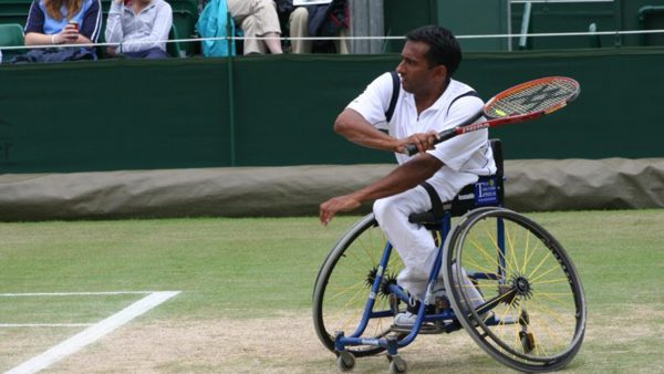 Jayant Mistry playing professional wheelchair tennis in the 1990s.