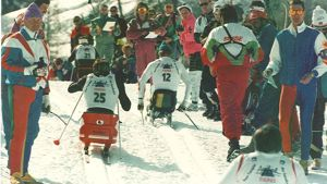 Skiers competing at the 1992 Tignes-Albertville Paralympics