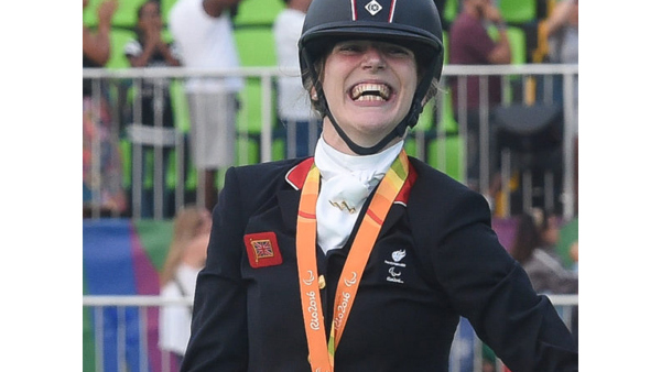 Sophie Christiansen with her medal at the 2016 Paralympics in Rio