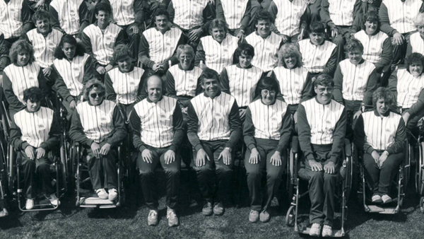Black and white photo of some of the 1984 GB Paralympic Team
