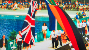 Medal ceremony at the Aquatic Centre at the 1996 Atlanta Paralympics