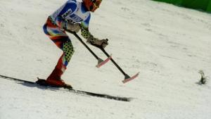 Competitor skiing at the Nagano 1998 Winter Paralympics