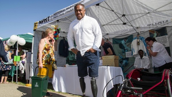 Derek Derenalagi, Paralympian, outside the front of our Pop-up Museum at Aylesbury Waterside Festival